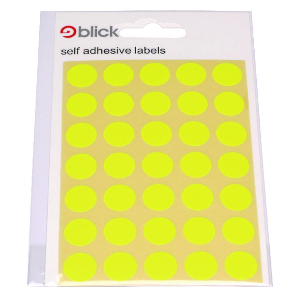 Blick Flourescent Labels in Bags Round 13mm Dia 140 Per Bag Yellow (Pack of 2800) 2