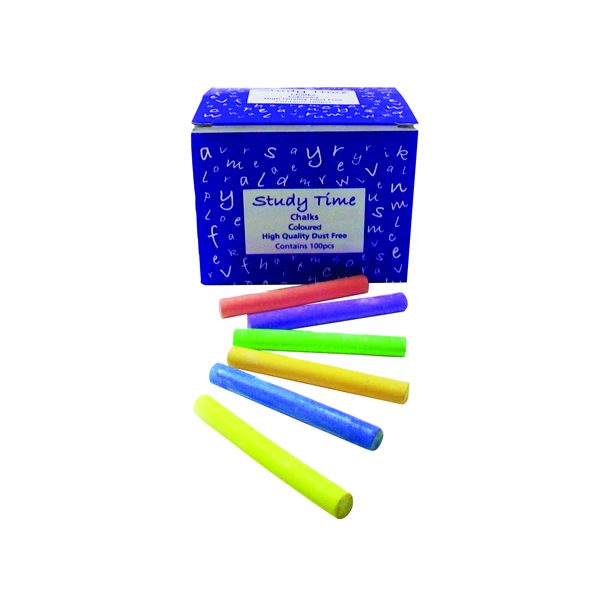 Study Time Chalk Assorted (Pack of 100) EDU212