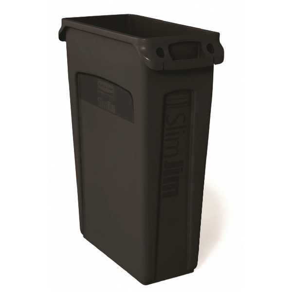 Rubbermaid Slim Jim Black Venting Channel Container 87 Litre 3540-60-BLA