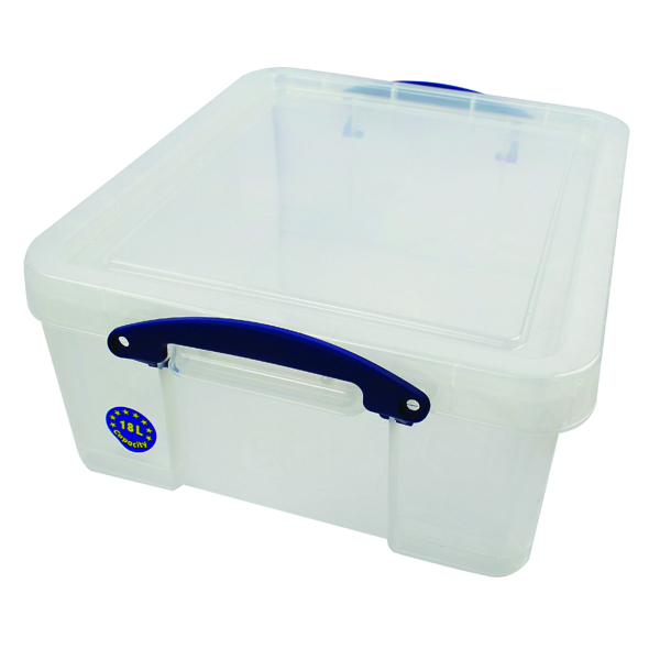 Really Useful 18L Plastic Storage Box With Lid W480xD390xH200mm CD/DVDs Clear EBCCD