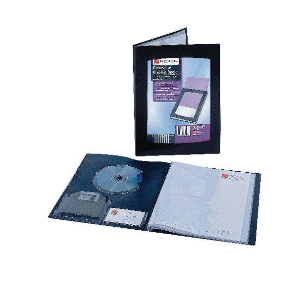 Rexel Clearview Display Book 24 Pocket A3 Black 10405BK
