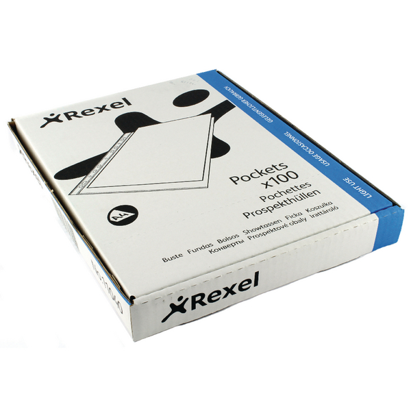Rexel Superfine Pocket Top Opening Polypropylene A4 Clear (Pack of 100) RSPA4 11040
