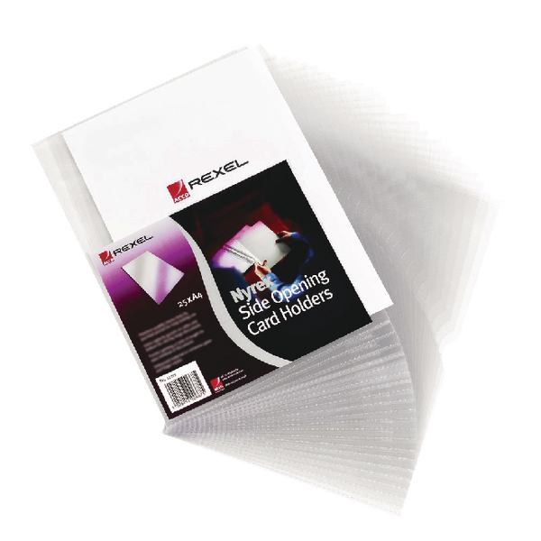 Rexel Nyrex Card Holder 95x64mm Clear Open Top (Pack of 25) PGC321 12010
