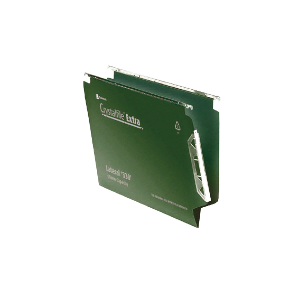 Rexel Crystalfile Extra 15mm Lateral File 150 Sheet Green (Pack of 25) 3000121