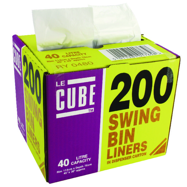 Le Cube 46 Litre Swing Bin Liner Dispenser (Pack of 200) 0480