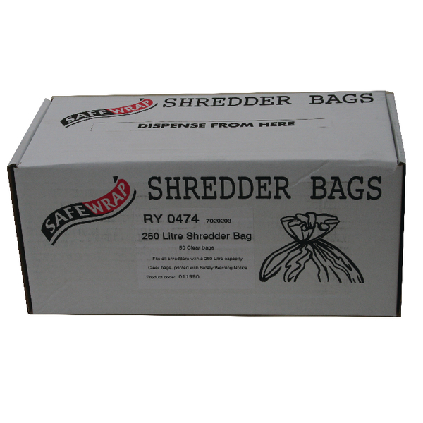 Safewrap Shredder Bag 250 Litre (Pack of 50) RY0474