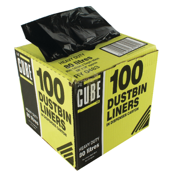 Le Cube Black 80 Litre Dustbin Liner Dispenser (Pack of 100) 0483