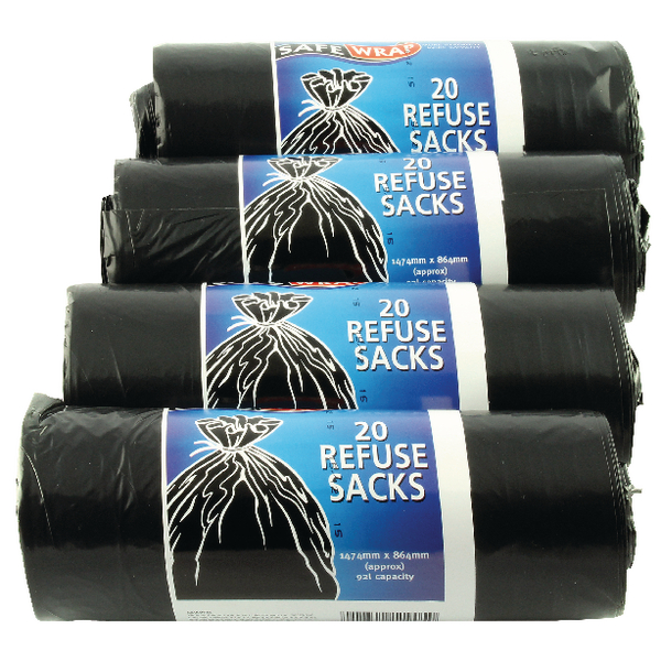 Image for Safewrap Refuse Sack 20 Per Roll (Pack of 4) Black 0446