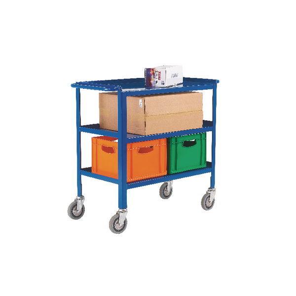 VFM Service Trolley 3-Tier With 150mm Castors Blue 306749