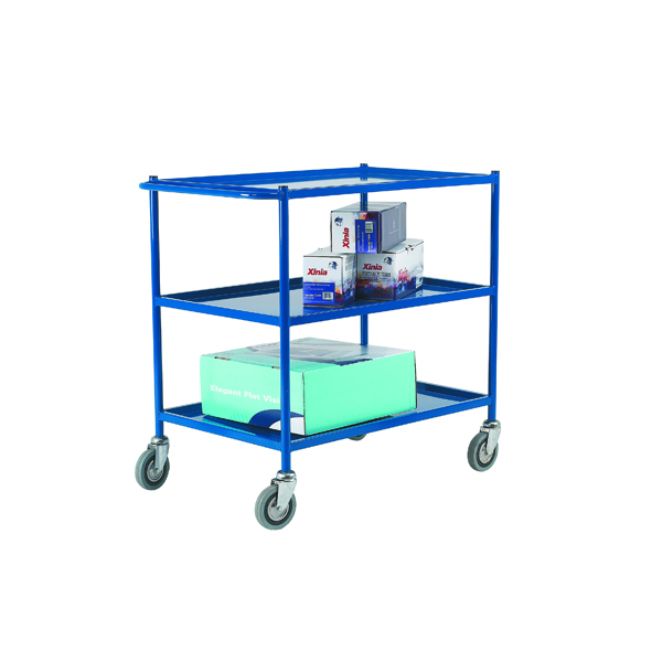 VFM 3-Tier Service Trolley 813x508mm Blue (Capacity: 150kg, shelf size: 813 x 508mm) 306759