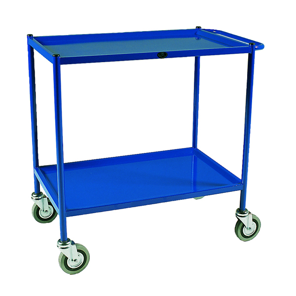 VFM Service Trolley 2-Tier 813x508mm Blue (150kg capacity, shelf size: 813 x 508mm) 306762