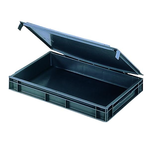 VFM Black Euro Pallet Stacking Box With Lid 307446