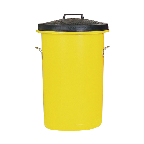 Heavyweight Cylindrical Storage Bin Yellow (2 handles on base and 1 on lid for easy handling) 311970