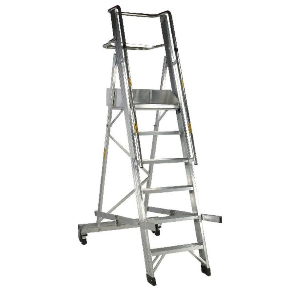 Aluminium 6 Tread Folding Mobile Step Ladder 316030