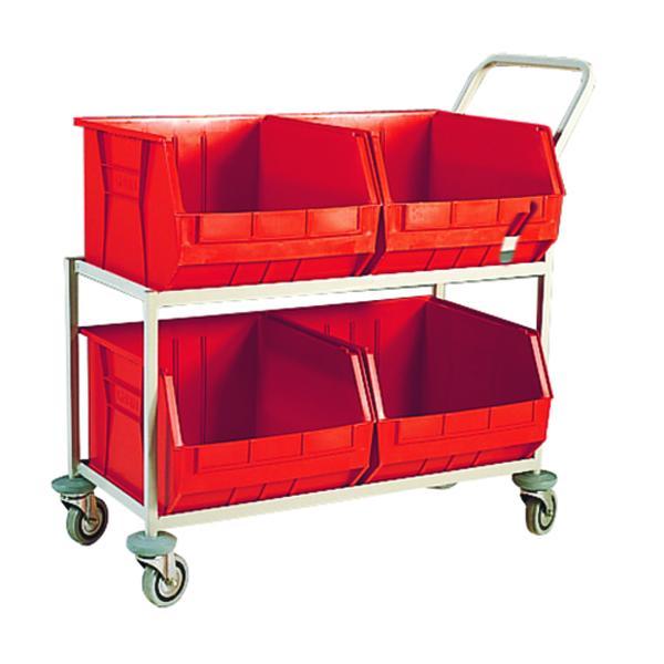 Red Mobile Storage Trolley c/w 4 Bins 321297