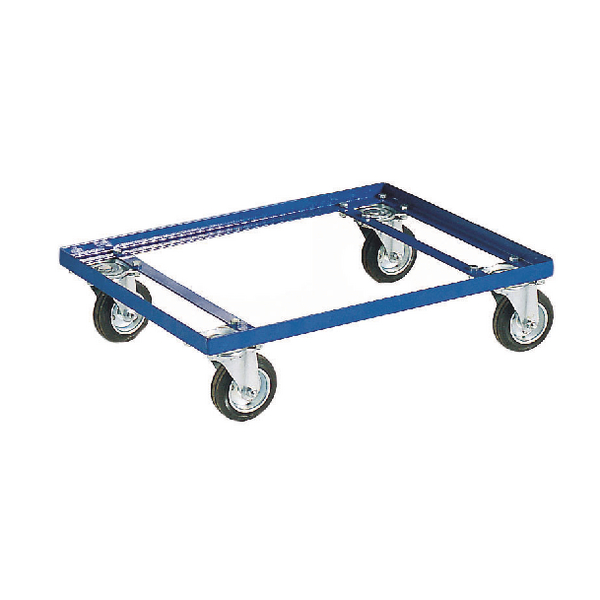 Blue 100kg Container Dolly 100mm Rubber Castors 321515