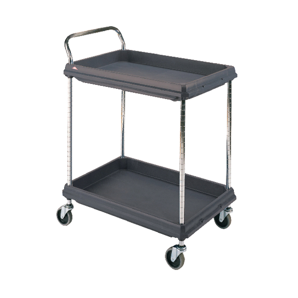 Image for 2 Tier Black H1041x W984xD689mm Deep Ledge Trolley 322447