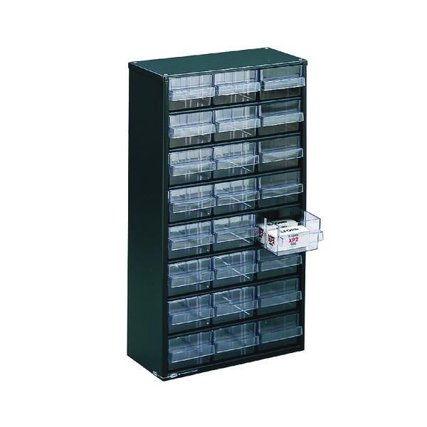 Image for Clear 24 Drawer System Dark Grey Storage Cabinet 324124