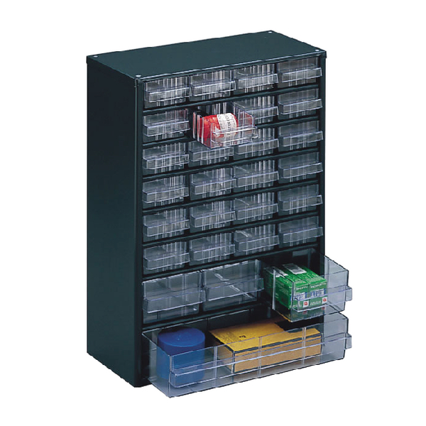 Clear 28 Drawer System Dark Grey Storage Cabinet 324128