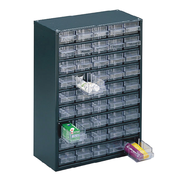 Image for Clear 45 Drawer System Dark Grey Storage Cabinet 324193