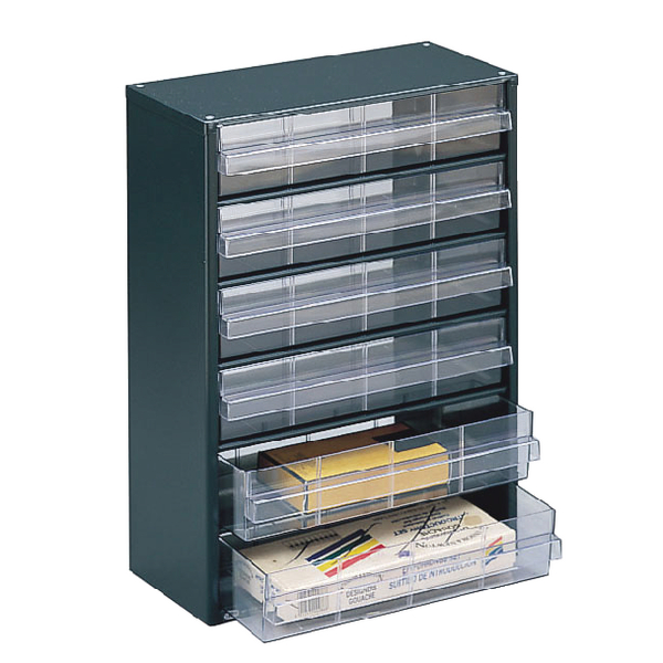 Clear 6 Drawer System Dark Grey Storage Cabinet 324223