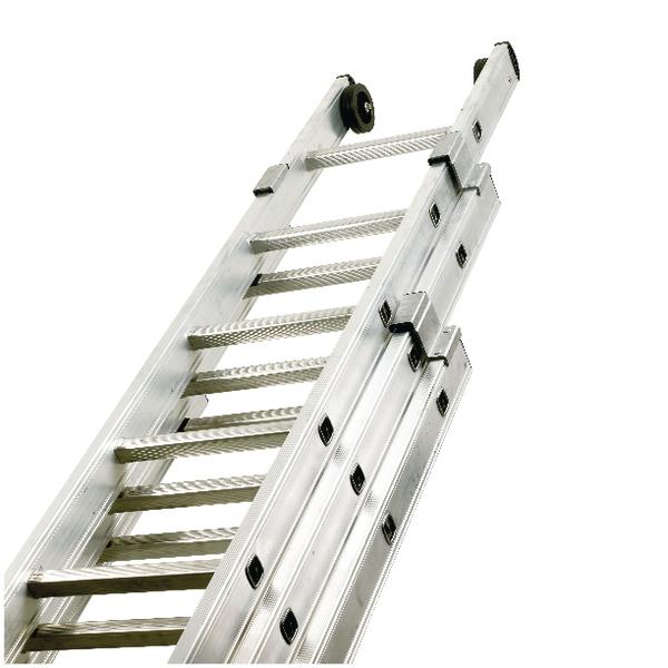 Push Up Aluminium Ladder 3 Section 10 Rungs 328666