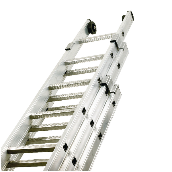 Push Up Aluminium Ladder 3 Section 12 Rungs 328667