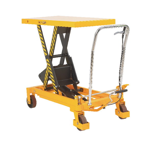 Yellow and Black Mobile Lifting Table 150kg Capacity 329455