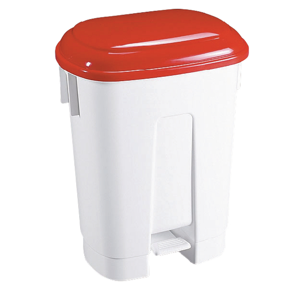 Derby Plastic Pedal Bin 30 Litre White/Red (Dimensions: W470 x D360 x H510mm) 348021