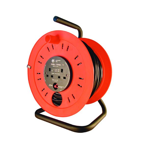 Extension Cable Open Drum Reel 50 Metre 13Amp 3 Socket 349792