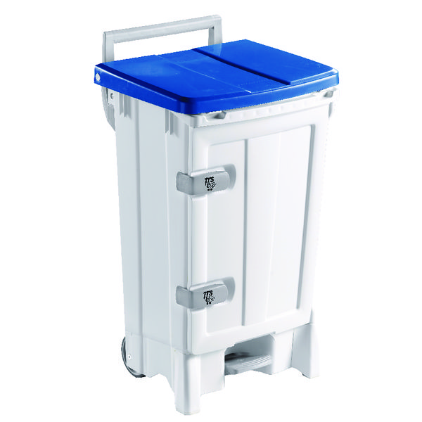 Mobile Hygiene Bin 90 Litre Blue and Grey (Heavy duty pedal operation for hands free use) 356696