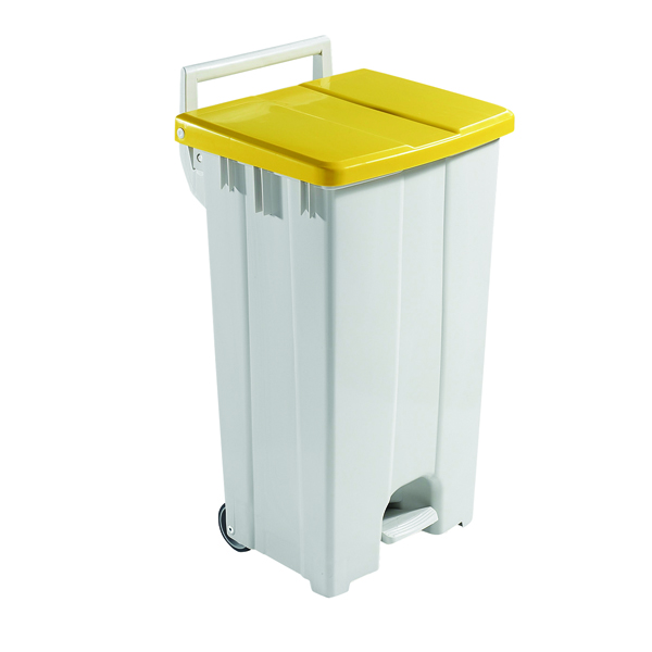 Grey 90 Litre Plastic Pedal Bin With Yellow Lid 357002