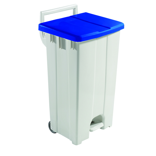 Grey 90 Litre Plastic Pedal Bin With Blue Lid 357003