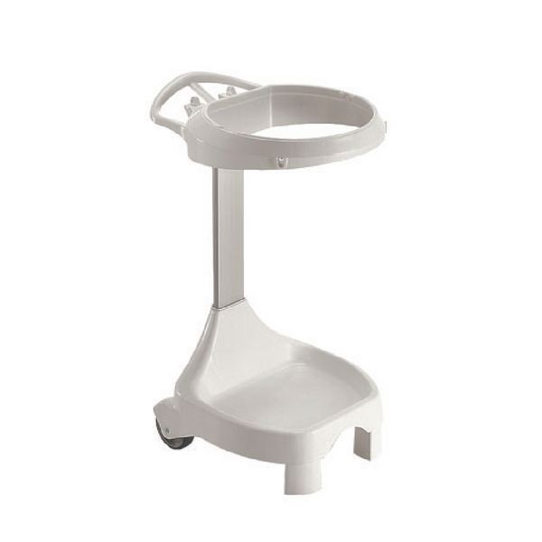 Smile White Semi-Mobile Sack Holder With Grey Basket 120 Litres 357844
