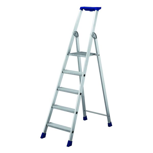Image for 5 Ribbed Tread Platform Step Ladder Aluminium 358755