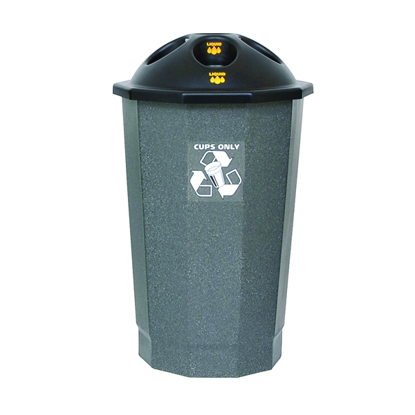 Black and Granite General Waste Bin Closed Flap 361032
