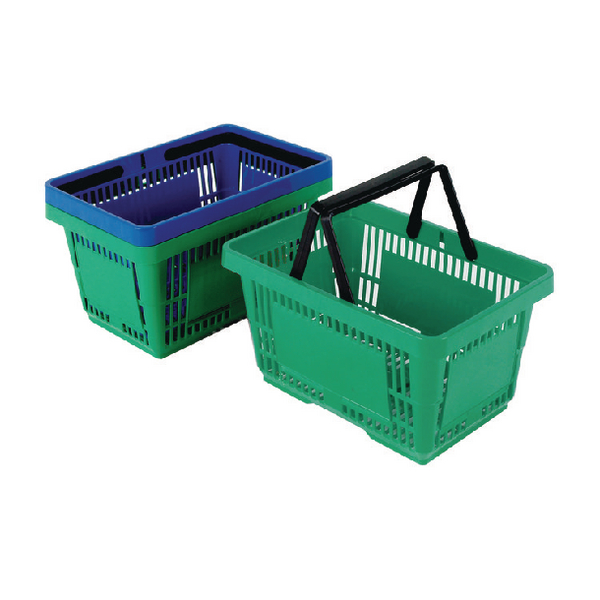Plastic Shopping Basket (Pack of 12) Green 370767