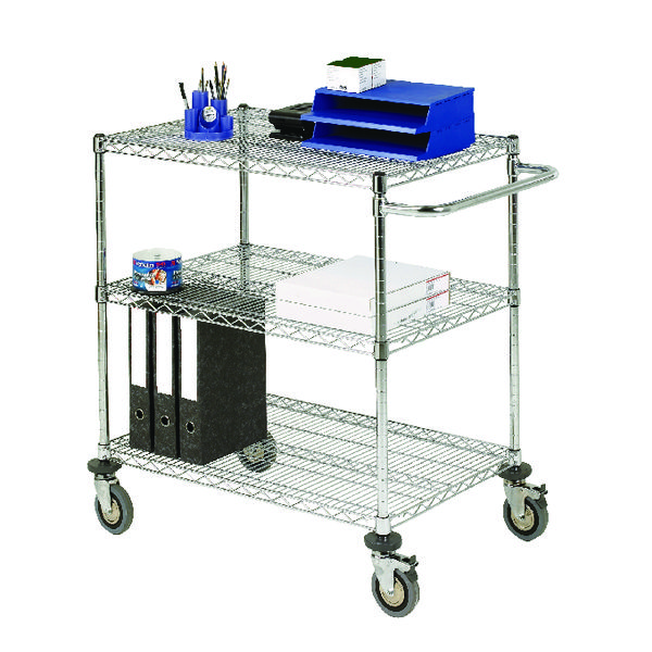 3-Tier Chrome Mobile Trolley 372996