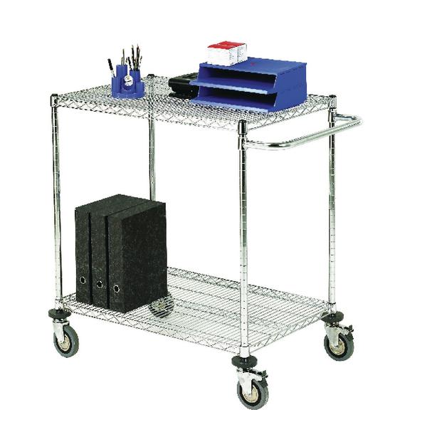 2-Tier 240kg Chrome Mobile Trolley (W610 x D914 x H965mm) 373001