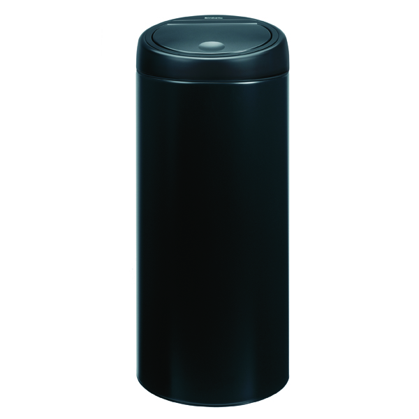 Touch Top Waste Bin 30 Litre Black 374039