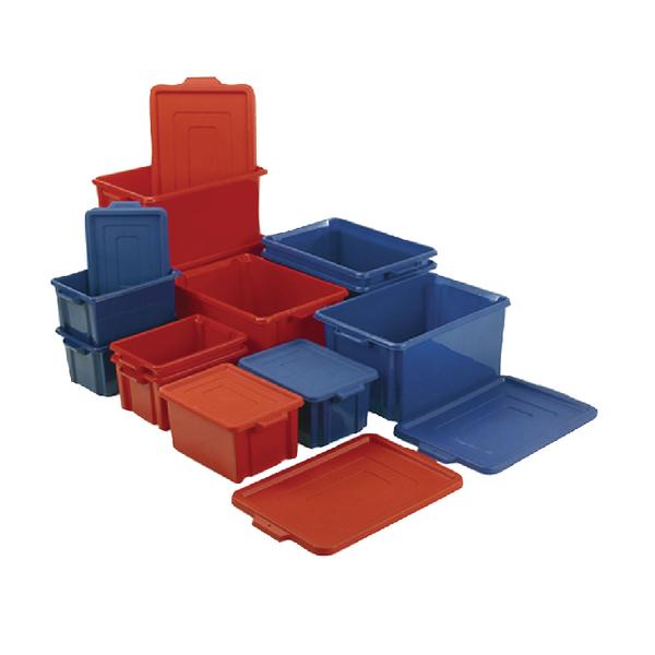 VFM Blue Jumbo Plastic Storemaster Crate With Lid 374344