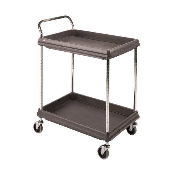 Image for 2 Tier Black W984xD689xH1041mm Deep Ledge Trolley 375054