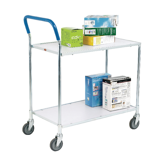Image for Metallic Grey and White Zinc Plated 2 Tier Service Trolley 375424