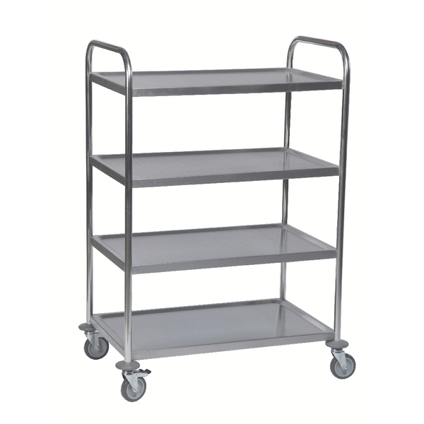 VFM 4-Tier Stainless Steel Service Trolley Silver 375426