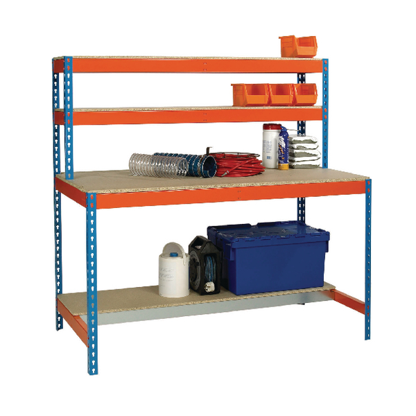 Image for Blue and Orange Workbench With Upper and Lower Shelves 1200x750mm 375518