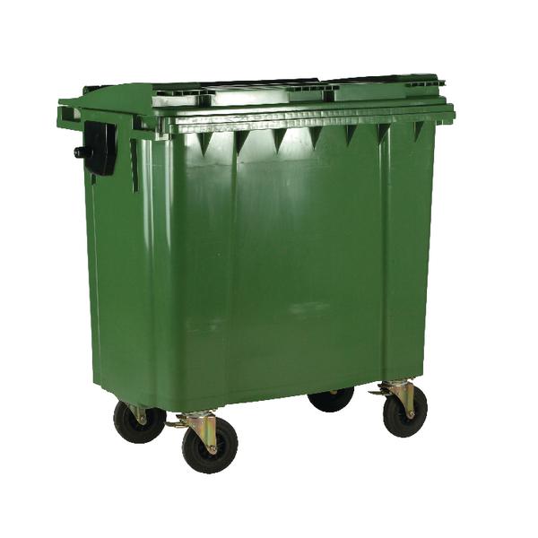 Wheelie Bin With Flat Lid 1100 Litre Green (Made of UV stabilised polyethylene) 377395