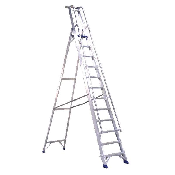 Aluminium Step Ladder With Platform 10 Steps 377860