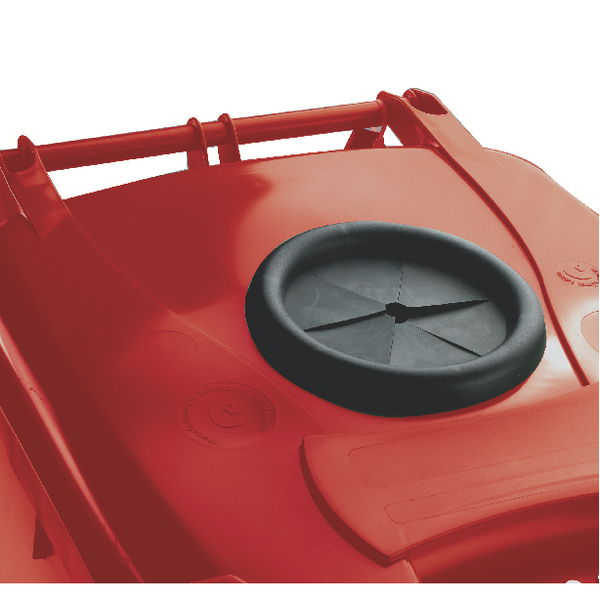 Wheelie Bin With Bottle Bank Aperture 120 Litre Red 377869