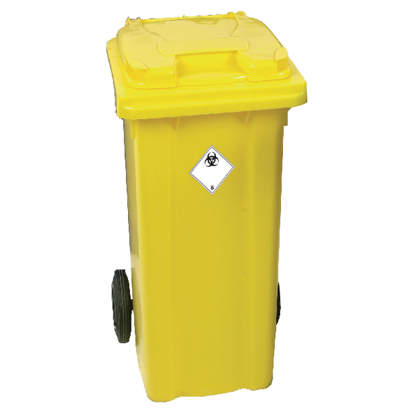 Yellow Clinical Waste 2 Wheel Refuse Container 360 Litre 377920
