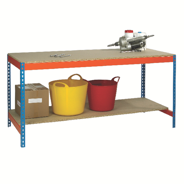 Image for Blue and Orange Workbench With Lower Shelf L1800xW750xD900mm 378931